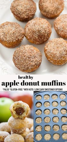 These Apple Donut Muffins make the perfect breakfast or quick snack for fall--and they're healthy, too! These donut holes are baked with apple cider and apple sauce and rolled in a cinnamon sugar. They're sugar-free, dairy-free and gluten-free with low carb / keto sweetener options. #applecider #donutmuffins #glutenfree #donutholes