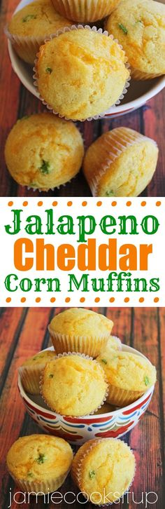 Jalapeno Cheddar Corn Muffins from Jamie Cooks It Up! These make the ...