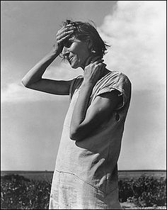 The woman portrayed is Nettie Featherston, a migrant laborer's wife and mother of three. Lange took the picture in the Texas Panhandle to document for the FSA farmland and families devastated by drought and dust storms.