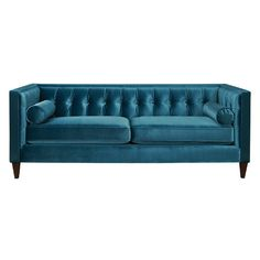 Jewel-tone velvet upholstery and Chesterfield-inspired tufting give this sleek sofa a lovely look. Let it add a pop of color to a feminine master suite, or s...