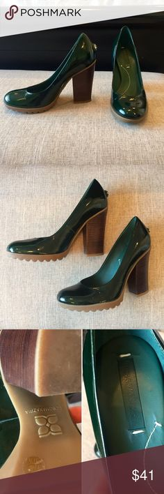 """BCBGMaxAzria Green Patent Leather Pumps  Size 7.5 These dark green pumps are gorgeous!! The color is dark enough that thy can be worn with any outfit you'd wear regular black heels with. The soles have a rubber grip to them which makes them easier to walk in...no slipping! However, they're VERY tall, which is why I'm selling them. They've been worn just a few times and show normal signs of wear. The leather is scuffed just the tiniest bit on the inside of the left heel. Height: 4""""…"""