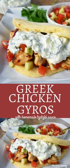 Greek Chicken Gyros with homemade tzatziki sauce. Marinated Greek chicken, grilled to perfection, and topped with handcrafted tzatziki sauce, greek salad with feta, all wrapped in warm pita bread. A healthy and flavorful dinner! Greek Chicken Pita, Greek Salad With Chicken, Greek Chicken Recipes, Greek Marinated Chicken, Easy Chicken Gyros With Tzatziki Sauce, Greek Pita Bread, Greek Chicken Marinade Yogurt, Greek Food Recipes, Dinner Ideas With Chicken