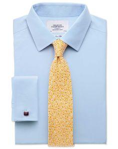 43ee9b0ae3c9af Slim fit non-iron twill sky blue shirt Twill Shirt