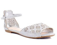 Floral Shape Summer Slingback Peep Toe Buckle Flats Womens Sandals Size Casual Shoes New Without Box 75 Silver -- Remarkable product available now.