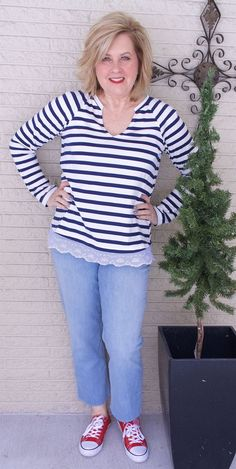 50 IS NOT OLD | SAILOR STRIPES AND EYELET TRIM | FASHION OVER 40 | Unique details | Spring Outfit | Casual and Comfortable | Chuck Taylors | Fashion over 40 for the everyday woman
