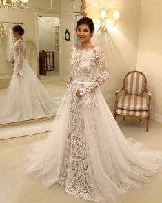 us 2184 20 offvintage lace mermaid long sleeves wedding dress with detachable train open back ivory church wedding gowns country bridal dress in Long Sleeve Wedding Dresses Trending This Year - CowlesNCP ~ Make your Wedding Ideas Lace Wedding Dress With Sleeves, Wedding Dress Train, Wedding Dress Trends, Long Sleeve Wedding, Elegant Wedding Dress, Cheap Wedding Dress, Wedding Ideas, Illusion Dress, Bridal Dresses