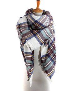 5f43e5a2402dc Yanekop Womens Big Blanket Scarf Soft Warm Tartan Plaid Scarf Shawl Fashion  Wrap(White Blue