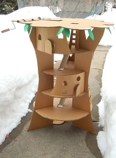 Cardboard Tree House- wonder if sim could make this for girls