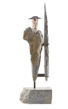 abilio-febra,-escultura,-alt.-Description: ABÍLIO FEBRA (n.1956) D. Quixote Escultura em várias pedras e metal Assinada e datada de 2006 Alt. aprox.: 86 cm.  Artist or Maker: ABÍLIO FEBRA (n.1956)