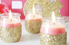 Add some sparkle to your home by making your own glitter candle holder jars.