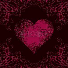rotes Herz in Locken auf einem schwarzen Hintergrund mit den Worten Ich liebe…