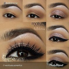 "By @motivescosmetics "" We love this pictorial by @hellofritzie! Tag a friend who would love this look!❤️ ""Heres the step by step pictorial and product details from last post ✨ @motivescosmetics By @lorenridinger motives eyebase -use heiress to highlight b"