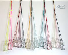Macrame fishing net flower/plant hanger - vintage inspired milk bottle | Chompa Handmade | madeit.com.au