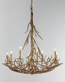 Eight-Light Iron-Twig Chandelier