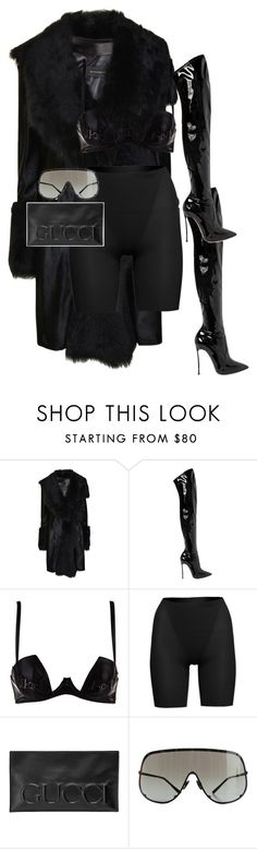 """""""Untitled #1179"""" by mullaqueen ❤ liked on Polyvore featuring Plein Sud, Casadei, SPANX, Gucci and Rick Owens"""