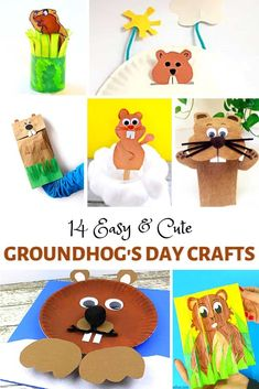 14 Cute and Easy Crafts for Groundhog Day for Kids- including groundhog puppets, groundhog hat, and a paper plate groundhog! #buggyandbuddy #groundhogday #craftsforkids #kidscrafts #ece #preschool #kindergarten #firstgrade