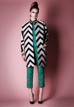 MSGM F/W 2012. love the zigzags against the teal.