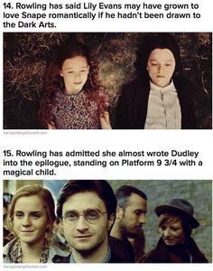 J.K.Rowling nói rằng Lily có thể sẽ yêu Snape nếu Snape không đam mê nghệ thuật hắc ám.  Cô Jo cũng thừa nhận rằng từng có ý định viết Dudley vào phần kết , đứng ở sân ga 9 3/4 với đứa con là phù thủy, nhưng cuối cùng lại thôi vì từ Phép thuật không có trong từ điển của nhà Dudley.