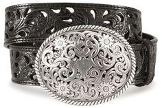 Tony Lama floral cutout leather belt