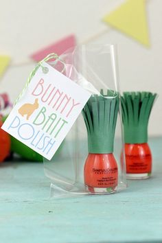 Super cute carrot top for an Easter nail polish gift. Great idea for teen Easter baskets!