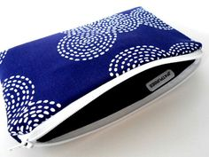 Large Blue Stitch Circles Zipper Pouch Cosmetic Bag Eco Friendly Padded NEW by JPATPURSES, $12.00