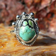 Turquoise Ring - Spiderweb Turquoise Ring - Genuine Turquoise - Sterling Silver Ring - Artisan Jewelry - Southwestern - Size 6 Ring by EarthsBountyGems on Etsy