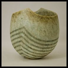 Unique stoneware vase with gray and white striped matte glaze. Glass Ceramic, Ceramic Clay, Ceramic Bowls, Ceramic Pottery, Pottery Art, John Ward, English Pottery, Vases, Vase Shapes