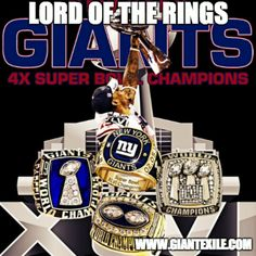 NY Giants Championship Rings. So excited for football season to start!!