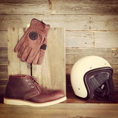 Red Wing Heritage 3141 Chukka with Loser Machine gloves and Biltwell helmet. norwoodshop.ca/store/
