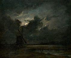 Moulin par pleine lune by Jules Dupré (1811 – 1889)
