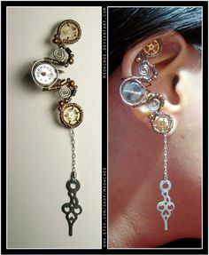 I love this ear cuff! such a beautiful design #steampunk #jewellery..i like this as a layout for a wall clock