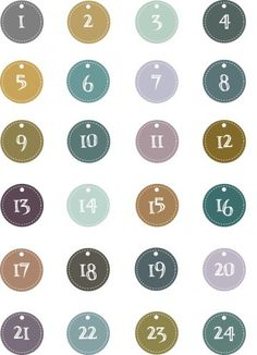 a sheet of labels numbered from 1 to 24 to classify gift packages of advent calendar