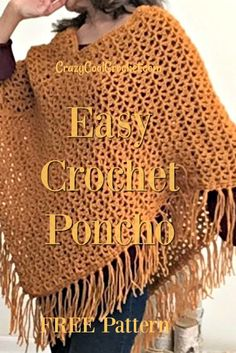 Free crochet pattern and video for this easy crochet poncho. Uses the fun V stitch. Drapes beautifully! Soft and comfortable. #crochetponcho #easycrochetponcho #crochetfreepatterns #freecrochetpatterns #crochetponchoforbeginner #crochetvstitch #crazycoolcrochet Crochet Patterns For Beginners, Crochet Blanket Patterns, Beginner Crochet, Jumper Patterns, Crotchet Patterns, Shawl Patterns, Crochet Basics, Knitting Patterns, Sewing Patterns