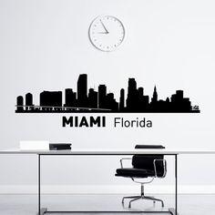 Miami Skyline Wall Decal città sagoma Florida stato parete decalcomanie vinile adesivi College dormitorio Business Office Living camera Home Decor C009