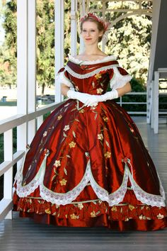 Reproduction: Absolutely stunning Civil War Era Red Silk Ball Gown - Visit to grab an amazing super hero shirt now on sale! 1800s Dresses, Old Dresses, Pretty Dresses, Ball Gown Dresses, Vintage Gowns, Vintage Outfits, Southern Belle Costume, Costume Carnaval, Victorian Gown