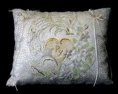 Wedding Ring Cushion, Cushion Ring, Japanese Embroidery, Beaded Embroidery, Beading, Cushions, Wedding Rings, Throw Pillows, Beads