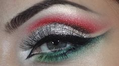 Tutorial: Christmas makeup (silver, red, green)