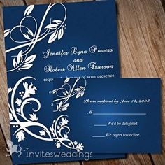 White and navy blue wedding invite and thank you cards