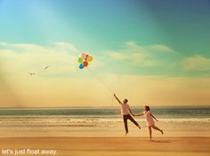 balloon, beach, couple, float, fly