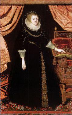 Elizabeth Vernon, Countess of Southampton (1572-1655), oil on canvas, 79 x 51 ins, 200 x 129 cm, inscribed upper left Aetatis svae 50 1622, later (incorrect) inscription Ldy Bedford filia Haringtoni