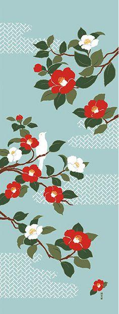 Japanese Tenugui Fabric, Red & White Camellia, Botanical Flower Design…