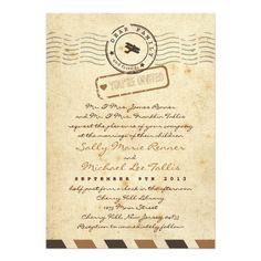 Vintage Airmail Love Letter Wedding Invitation
