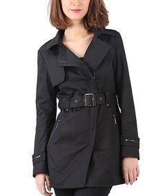 Look at this #zulilyfind! Black Asymmetric-Zip Trench Coat by LAKLOOK #zulilyfinds