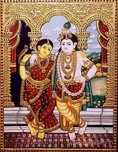 Tanjore Painting, Krishna Painting, Krishna Art, Radhe Krishna, Mysore Painting, Iskcon Krishna, Krishna Lila, Hanuman, Pongal Celebration