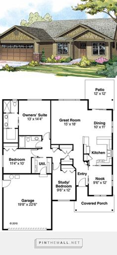 Ranch Style House Plan - 3 Beds 2 Baths 1608 Sq/Ft Plan #124-855 - created via https://pinthemall.net