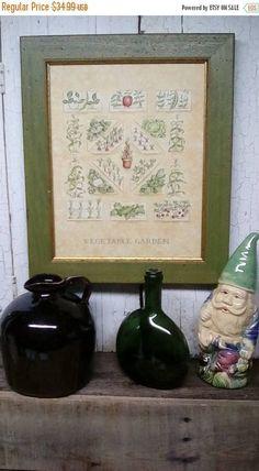 ON SALE Framed Vegetable Garden Print - Diagram Vegetable Garden Print - English Style Vegetable Garden Framed Print - Green and Gold Trimme  $29.74 #herbgarden #vegetablegardening #vegetablesgardening