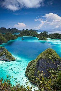 The clear waters of Wayag Island, Indonesia.