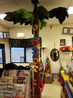 Chicka chicka boom boom tree covering up ugly electrical pole in the classroom..