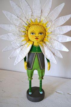 OOAK Daisy Flower Original Hand Painted Folk Art Cloth Doll Sculpture-- One of a Kind. $180.00, via Etsy.