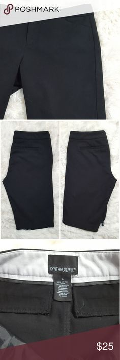 Cynthia Rowley Stretch Bermuda Shorts These black stretch Bermuda shorts by Cynthia Rowley are perfect for the summer. These shorts feature faux front pockets, zip, hook and bar & button closure. These shorts are in great used condition, no staining or tears. Made from 60% Cotton, 34% Polyester, 6% Spandex. Cynthia Rowley Shorts Bermudas